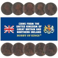 LOT OF 10 GREAT BRITAIN UNITED KINGDOM 1 PENNY COINS, QUEEN VICTORIA 1874-1894