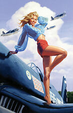 Greg Hildebrandt USA Pin-Up on Airplane c. 1950 Print Poster 24X36 (61X91.5cm)