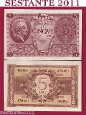ITALIA,  ITALY ,5 LIRE LUOGOTENENZA 1944,  P. 31c , FDS / UNC, BOLAFFI CAVALLARO