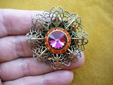 (br-68) Orange Pink stone rhinestone circle brass pin pendant brooch jewelry