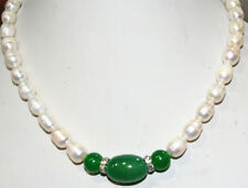 """natural charming white akoya cultured pearl & green agate Necklace 18"""" wholesale"""