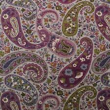 "P KAUFMANN MAJORCA TWILIGHT PURPLE PAISLEY BASKETWEAVE FABRIC BY YARD 54""W"