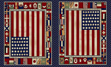 "USA & Nations Flags 1876-1880 Cotton Fabric Windham Fairmount Park 24""X44"" Panel"