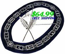 Masonic Collar Blue Lodge House FREEMASON Secretary Jewel PACKAGE DMR400SBSJS