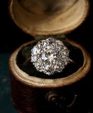 1.20 Ct Round-Cut Sim Diamond Cluster Engagement Ring 14K Yellow Gold