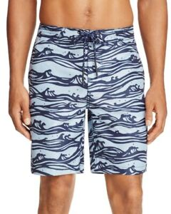 NEW MENS SURFSIDE SUPPLY DUSTY BLUE WAVE PRINT BOARD SHORTS SIZE 2XL