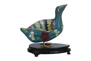 Vintage Cloisonne Bird / Duck & Stand
