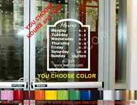Store Hours Operation Sign Decal Window Door Grocery Deli Cafe Salon Law Office