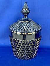 "Vintage Black Glass Bowl & Lid Candy Dish HALLOWEEN Diamond Cut Tiara 10"" ❤️sj3j"