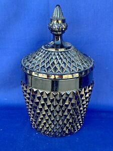 "Vintage Black Glass Bowl & Lid Ice Bucket HALLOWEEN Diamond Cut Tiara 10"" ❤️sj3j"