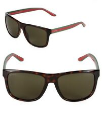 GUCCI Square Men Sunglasses GG 1118/S Shiny Tortoise Brown Green Lenses M1570