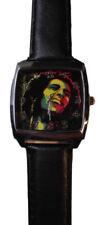 Bob Marley Face Genuine Leather Black Band Wrist Watch