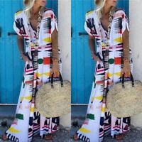 Women V-Neck Short Sleeves Ladies Summer Long Loose Casual Maxi Wrap Sun Dress