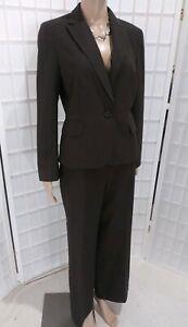 Classic Ann Taylor LOFT Petite Sz 10P Wool Blend Cocoa Brown Pinstripe Pant Suit