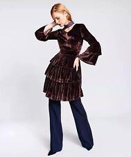 New Banana Republic Olivia Palermo Taupe Velvet Tiered Shirtdress Dress SZ 2