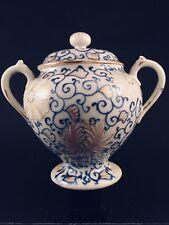 Antique Blue & White Lotus Scroll Porcelain Covered Sugar Bowl Pomade Jar