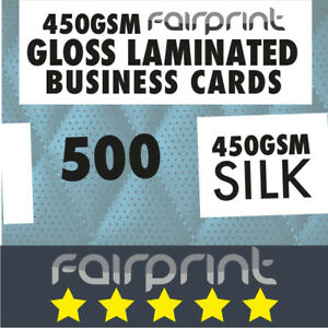 500 x Business Cards 450gsm GLOSS Laminated