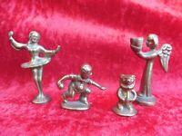 4 Bella, vecchio Klein-Bronzen __ Angelo, Ballerina, Kegler, Orso __ 4 Bronzo __
