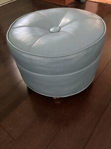Vintage MCM Blue Naugahyde Vinyl Ottoman Footstool round Coasters Rolling