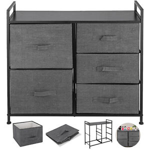 Chest of Fabric Drawers Dresser Furniture 5 Bins Bedroom Storage Organizer Gray