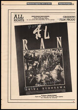Ran_Orig. 1988 Trade print Ad promo / poster_Akira Kurosawa_Tatsuya Nakadai