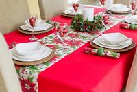 """14x78"""" (35x200cm) CHRISTMAS TABLE RUNNER WITH FESTIVE RED POINSETTIA - ON OFFER"""