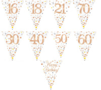 New Rose Gold Sparkling Fizz Happy Birthday Party Holographic Bunting Flags 3.9m