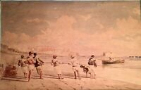 Original Pietro Bello Watercolor Painting Seascape Men Pulling in Nets or Boats