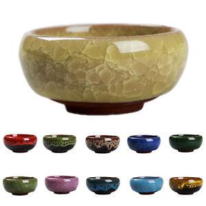 1X Ice-Crack Glaze Flower Ceramics Succulent Plant Pot Office Flowerpot Decor US