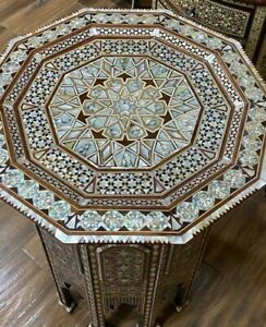 """Antique Side Table End Table wood Inlaid Mother of Pearl (22.4""""x22.4"""")"""