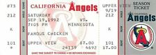 Baseball Ticket California Angels - 1992 - 9/19 Minnesota Twins Full