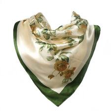 Foulard 90 X 90cm 100% Pure Soie Blanc cassé Vert Kaki Motif fleurs