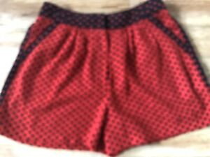 Next Dressy Shorts/ Age 9, 134 cms /Red & Black with hearts/ Adjustable Waist