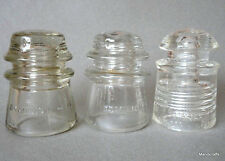 Telephone Insulator x 3 Dominion Glass Canada Pyrex USA 1940s 50s Clear Vintage