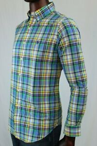 Ralph Lauren Long Sleeve Dress Shirt Green, Orange And Blue Plaid~NWT~