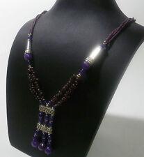 Cadena de Señora collar cadena Piedra Natural Amatista Granate > almandina NUEVO