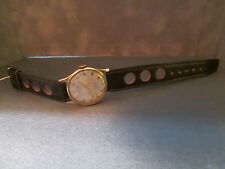 LOOK!Men's vintage Rotary in solid 9k yellow gold with N.O.S. RALLY leather band