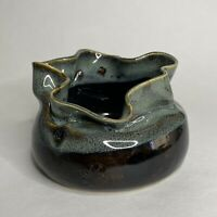 Studio Art Pottery Drip Glaze Slouching Pouch Bowl Planter Green Brown Signed