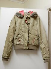 BILLABONG KHAKI BROWN/GREEN WOMEN'S PARKA/COAT/BOMBER JACKET SZ 10 FUR HOOD BNNT
