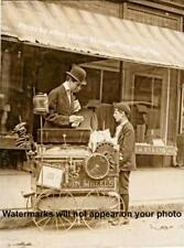 Old/Vintage/Antique 1910 Street Vendor Young Boy Child Roasted Peanut Cart Photo