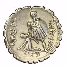 Roman Republic: Man Aquilius silver denarius serratus minted Rome 71 BC.
