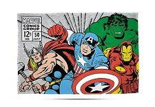 MARVEL COMICS RETRO Fleece Blanket Kids Throw Over Huddle Boys Hulk Thor Ironman