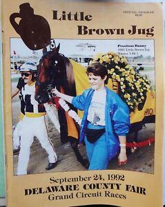 HTF JUG DAY HARNESS HORSE RACE PROGRAM - SEPTEMBER 24, 1992 DELAWARE CO. FAIR