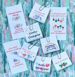 Personalised craft labels. Loop Labels. Sew in fabric clothing labels tags.