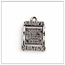 30 I LOVE QUILTING Tibetan Silver Pendants Jewelry Making Findings EIF0226
