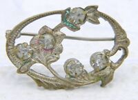 Antique Victorian Gold Tone Clear Rhinestone Flower Pin Brooch C Clasp