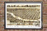 Vintage Columbus, GA Map 1886 - Historic Georgia Art - Old Victorian Industrial