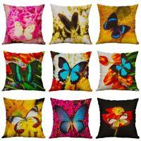 Linen Sofa Flower Case 18'' Cotton Home Pillow Decor Throw Cushion Cover Plant