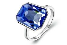Crystal Royal Blue Shiny Crystal Silver Rectangle Stone Adjustable Ring FR167