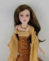 Birthstone Doll Ceramic November Topaz Brown Hair Accessorized with Stand New